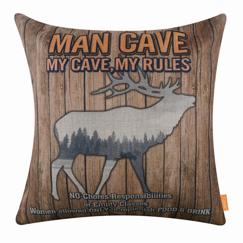 Image of My Cave My Rules Deer Forest Cushion Cover