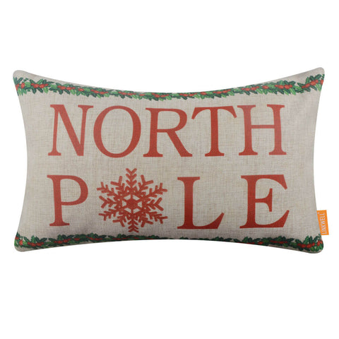 North Pole Christmas Pillow Cover 20x12 inch