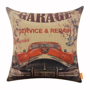 Old Car Garage Service Repair Bed Pillow Cover