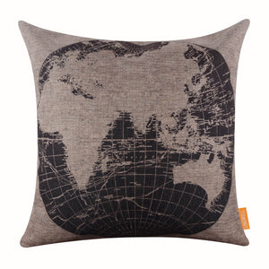 Old Eastern Hemispheres World Map Pillow cover