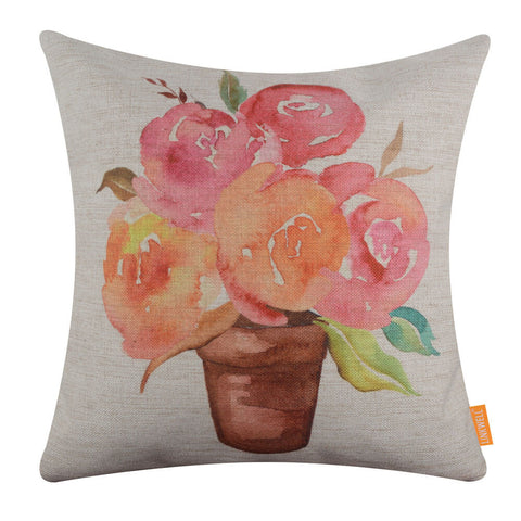 Outdoor Pillow Cover in Watercolor Floral Design