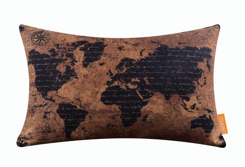 Image of Outstanding Black World Map Brown Bolster Cushion Cover