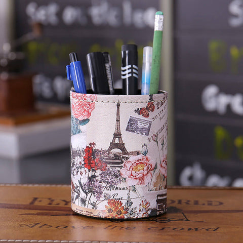 Image of Flower Paris Eiffel Tower Pen Holder