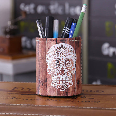 Image of Halloween Gift Skull Pencil Cup