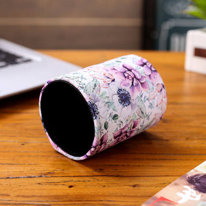 Purple Floral Pattern Pen Holder