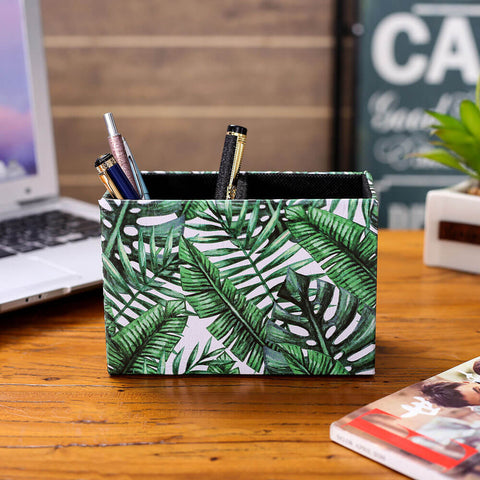 Tropical Palm Banana Leaf Pattern Rectangular Pen Holder