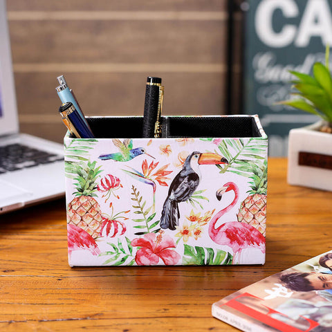 Image of LINKWELL Tropical Pink Flamingo Toucan Pen Holder