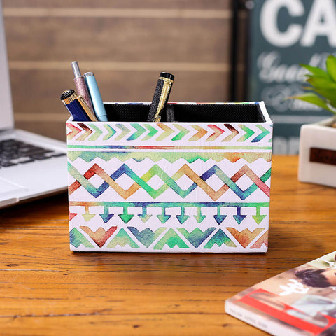 Image of LINKWELL Watercolor Tribal Pattern Pencil Holder Cup