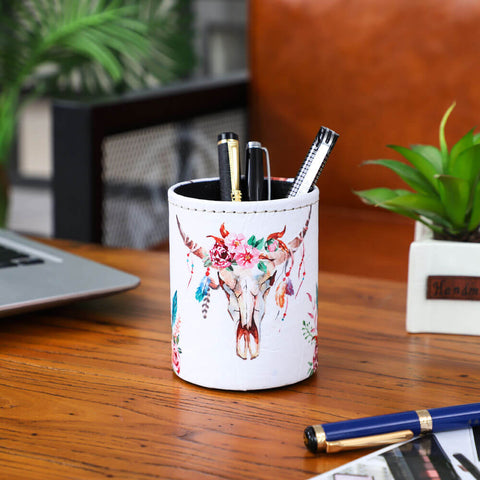 Image of Floral Cow Skull Pen Holder