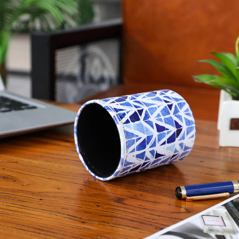 Image of Blue and White Porcelain Tie Dye pen holder