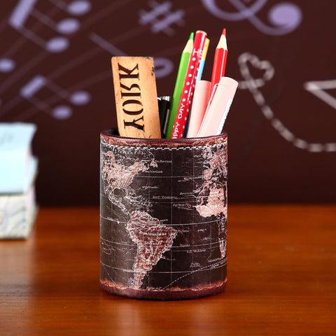 Image of Vintage Black World Map Pen Holder
