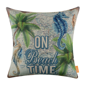 Palm Tree On Beach Time Blue Throw Pillow Cover
