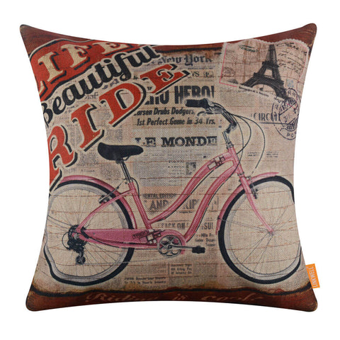 Image of Pink Bike on French Paper Decorative Pillow Cover