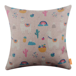 Pink Mexican-Themed Llama Cushion Cover for Summer Decor