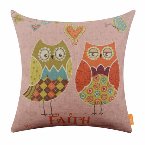 Image of Pink Owl Cartoon Cushion Cover for Girl