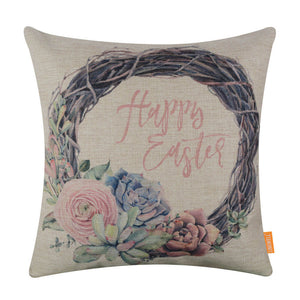 Pink Succulent Happy Eatser Holiday Pillow Cover