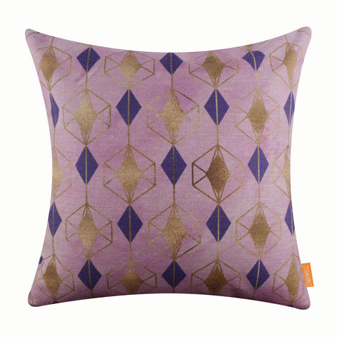 Pink and Purple Geometric Metallic Gold Pillow Cover