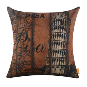 Pisa Leaning Tower Brown Pillow Cover