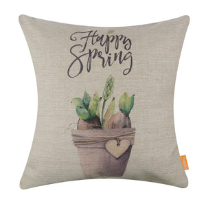Potted Plant Green Pillow Cover for Happy Spring