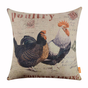 Poultry Rooster Hen Zippered Pillow Covers