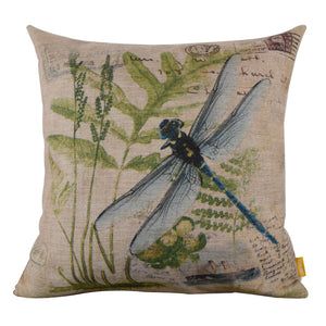 Pretty Blue Dragonfly Meadow Square Cushion Cover