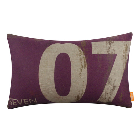 Purple Color Pillow Cover with Number Seven