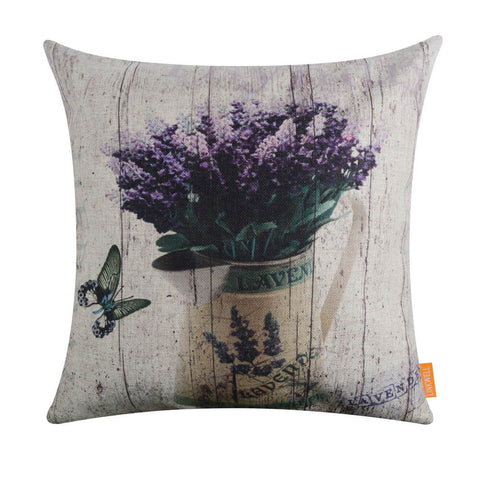 Purple Flowers with Butterfly Lumbar Pillow Cover