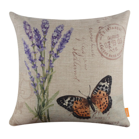 Image of Purple Lavender Hessian Pillow cover