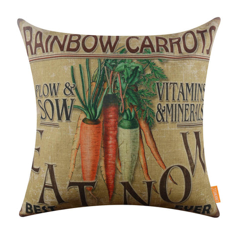 Rainbow Carrots Decorative Pillowcase