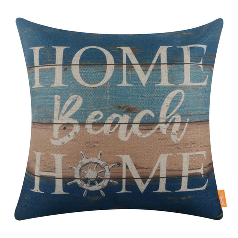 Image of Reclaimed Wood Sign Home Beach Home Pillow Cover