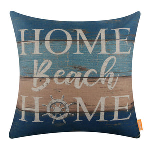 Reclaimed Wood Sign Home Beach Home Pillow Cover