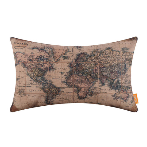 Image of Rectangular Map of the World Decorative Pillow Cover
