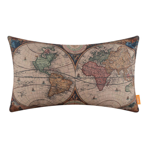 Image of Rectangular Vintage World Map Decorative Pillow Cover