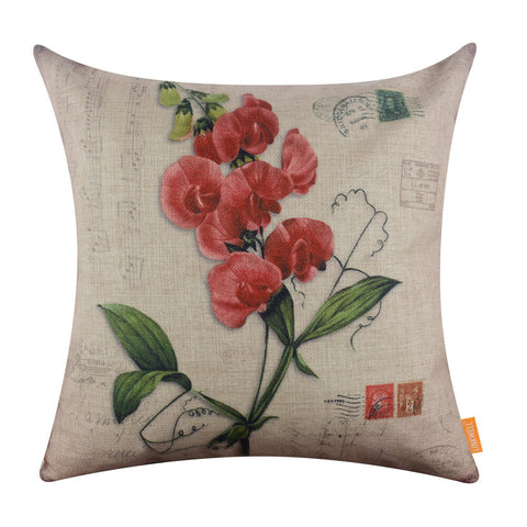 Image of Red Flower Green Sofa Seat Cushion Cover only
