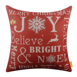 Red Joy Meery Christmas Pillow Cover