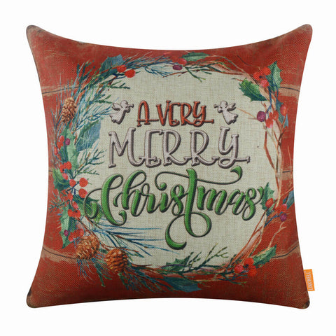 Red Merry Christmas Pillow Cover