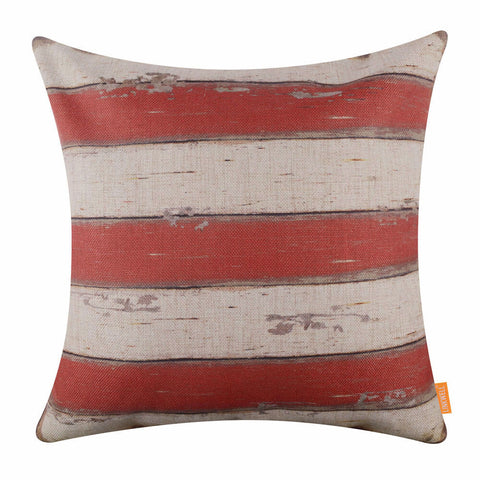 Red White Striped Pillow Cover
