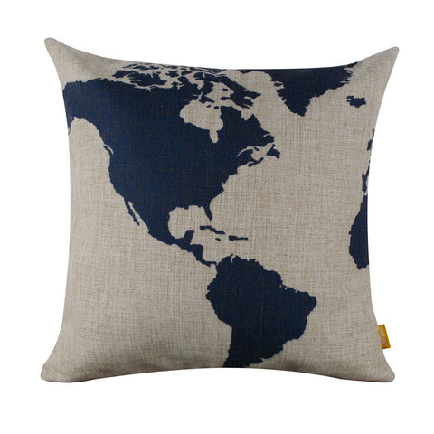 Image of Remarkable Dark Blue World Map Square Cushion Cover
