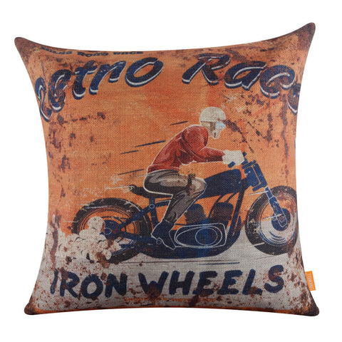 Image of Retro Race Iron Wheels Motorcycle Pillow Cover