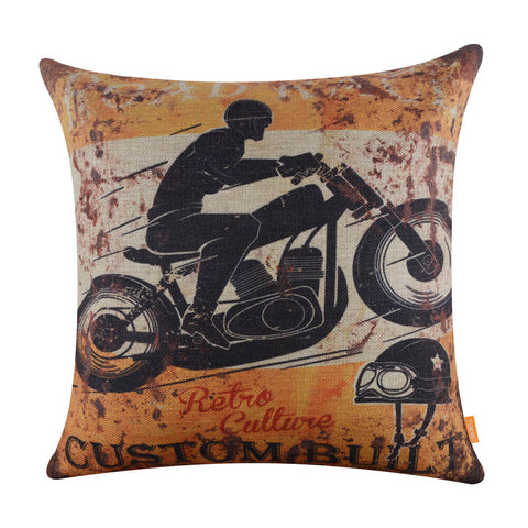 Image of Retro Style Motorcycle Yellow Pillow Cover