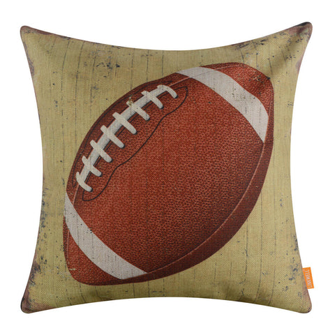 Retro Yellow American Football Sport Pillow Cover for Boy Room