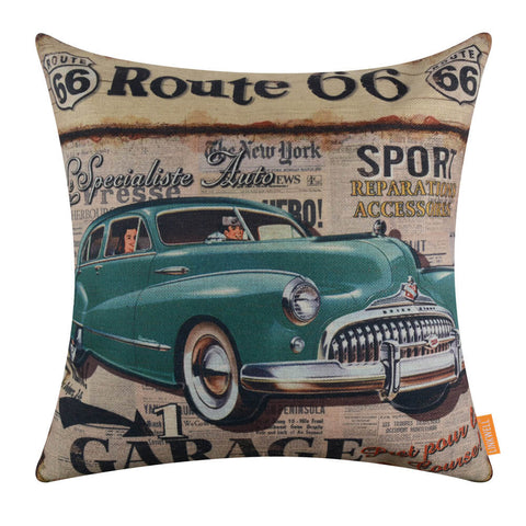 Image of Route 66 Green Car Throw Pillow Covers 18x18