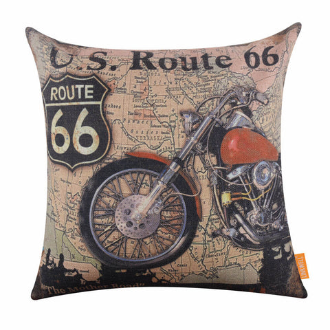 Route 66 Motocycle Pillow Cover