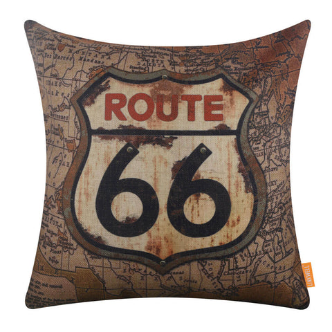 Rusted Route 66 Pillow Cover for Man Cave Decor