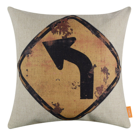 Rusted Yellow Turn Left Traffic Sign Cushion Cover
