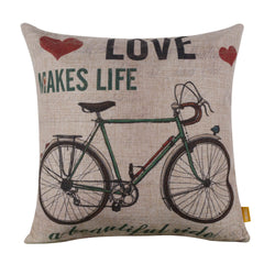 Rustic Green Bike Pillow Slip