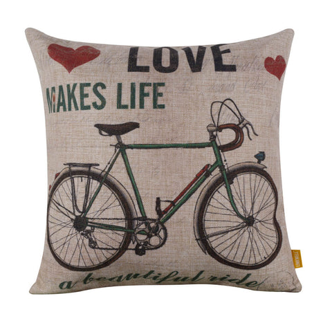 Image of Rustic Green Bike Pillow Slip