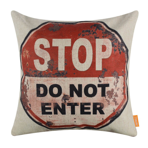 Rustic Traffic Sign Stop Do Not Enter Red Pillow Cover