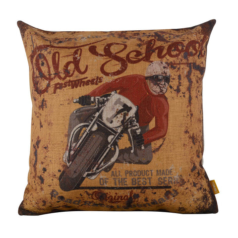 Image of Rustic Yellow Motorcycle Couch Pillow Case