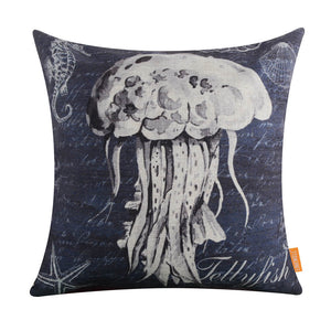 Sea Blue Jellyfish Pillow Cover